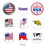 Botones a presión de vidrio con estampado de bandera de Estados Unidos de 20 mm