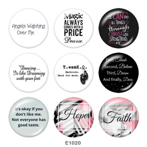 20MM  Hope  Print glass snaps buttons