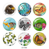 20MM  Butterfly  Print  glass snaps buttons