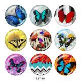 Botones a presión de vidrio con estampado de mariposa de 20 mm