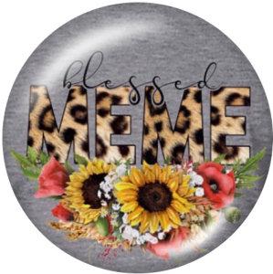 20MM MIMI MOM MEME NANA Botones a presión de vidrio con estampado de flores