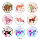 20MM  Wolf  Elephant  Print  glass snaps buttons