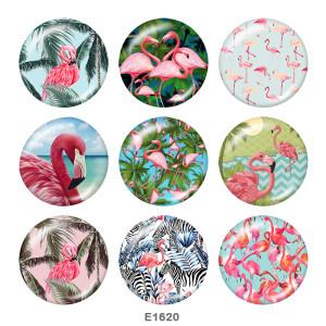 20MM Flamingo Print Glasschnappknöpfe