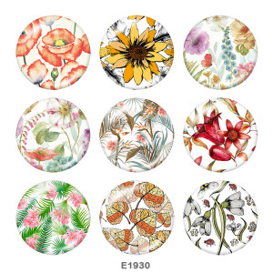 Стеклянные кнопки с цветочным принтом 20 мм