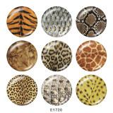 Boutons pression en verre imprimé motif léopard 20 MM