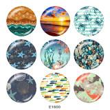 20MM Ocean World Print boutons pression en verre Beach Ocean