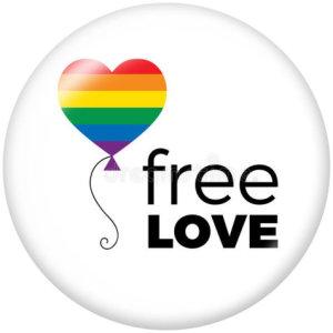 20MM Free Love Print Glas Druckknöpfe Schmuck Regenbogen LGBT