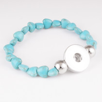1 buttons With  snap Turquoise natural stone  bracelet fit snaps jewelry