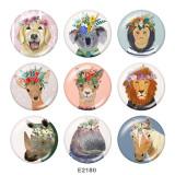 Botones a presión de vidrio con estampado de ciervos y perros de 20 mm