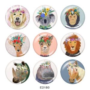 Стеклянные кнопки с принтом собачьего оленя 20 мм