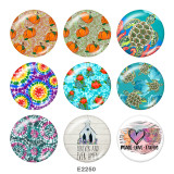 20MM  Sunhine  Flower  Print  glass snaps buttons