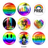 20MM Love smile Print verre boutons pression arc-en-ciel LGBT