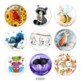 20MM  Cat  birdr  Print  glass snaps buttons