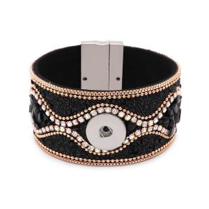 Кожаный браслет нового типа 20 см, 1 пуговица, подходит для блоков 20 мм с кнопками