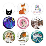 20MM  Cat  Dog  Print  glass snaps buttons