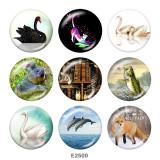 20MM  Goose  Fox  Print  glass snaps buttons