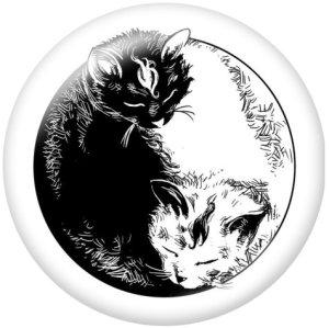 20MM猫うさぎプリントガラススナップボタン