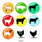 20MM  Cartoon  Dog  Print  glass snaps buttons