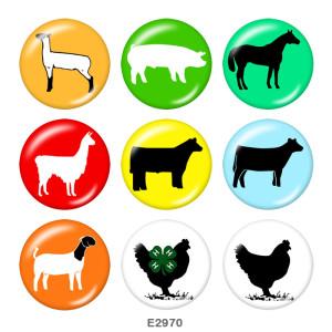 Стеклянные кнопки с принтом мультяшной собаки 20 мм