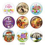 20MM  happy easter   Print  glass snaps buttons