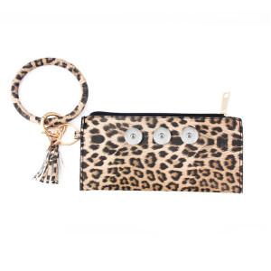 Snaps bolso de pulsera tipo sándwich con estampado de leopardo apto para trozos de 18 mm