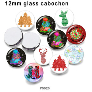 10pcs/lot Christmas  glass picture printing products of various sizes  Fridge magnet cabochon