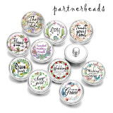 20MM  I  love you   Print  glass snaps buttons