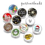 20MM   Christmas  Print  glass snaps buttons