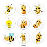 Boutons-pression en verre imprimé abeille 20 MM