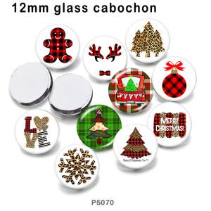 10 Stück / Los Weihnachtsglas Bilddruckprodukte in verschiedenen Größen Kühlschrank Magnet Cabochon