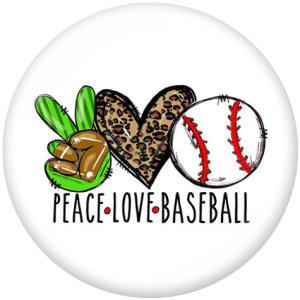 20MM Peace Love Baseball Print Glasschnappknöpfe