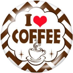 20MM l Love Coffee Print Glasschnappknöpfe