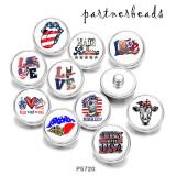 20MM USA 4 de julio Peace Love Docs Imprimir botones a presión