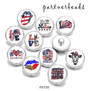 20MM USA 4. Juli Peace Love Docs Drucken Sie die Druckknöpfe aus Glas