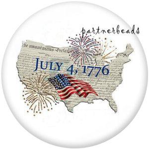 20MM USA Peace Love America 4. Juli Drucken Sie die Druckknöpfe aus Glas