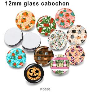 10 Stück / Los Halloween Glas Bilddruckprodukte in verschiedenen Größen Kühlschrank Magnet Cabochon
