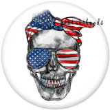 20MM USA Peace Love America 4th Of July   Print   glass  snaps buttons