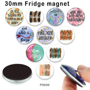 10 Stück / Los Design Glas Bilddruckprodukte in verschiedenen Größen Kühlschrank Magnet Cabochon