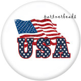 20MM   USA 4th Of July  Love   Print   glass  snaps buttons