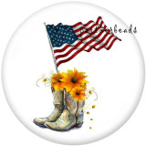 20MM  Peace Love  USA 4th Of July  Print   glass  snaps buttons