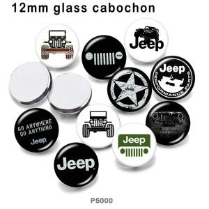 10 Stück / Los Jeep Glas Bilddruckprodukte in verschiedenen Größen Kühlschrank Magnet Cabochon