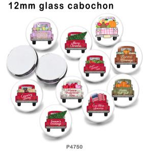 さまざまなサイズの10個/ロットフェスティバルガラス絵印刷製品冷蔵庫マグネットカボション