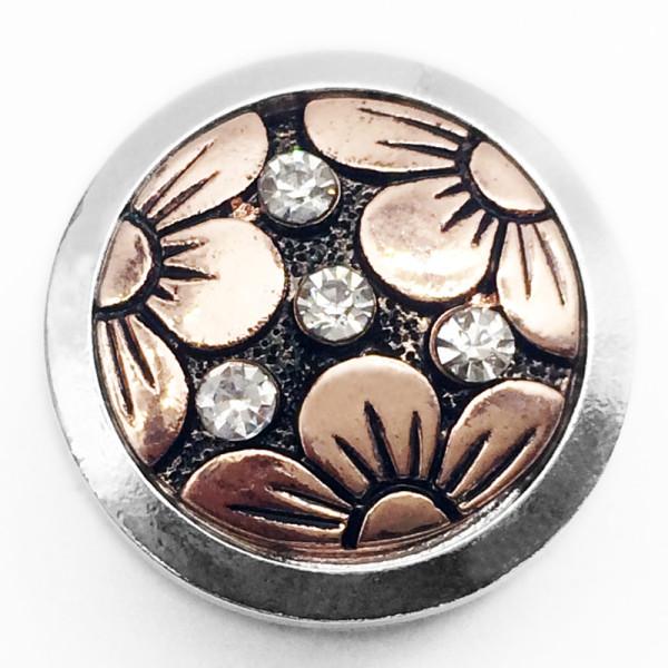 Bouton pression fleur 20MM plaqué or avec bouton pression en émail