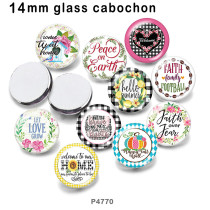 10pcs / lot produits d'impression d'image de verre de foi de différentes tailles cabochon d'aimant de réfrigérateur