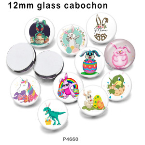 さまざまなサイズの10個/ロットイースターガラス画像印刷製品冷蔵庫用マグネットカボション