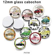 10pcs / lot produits d'impression d'image de verre de voiture de différentes tailles cabochon d'aimant de réfrigérateur