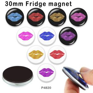 10個/ロットさまざまなサイズの赤い唇のガラス画像印刷製品冷蔵庫用マグネットカボション