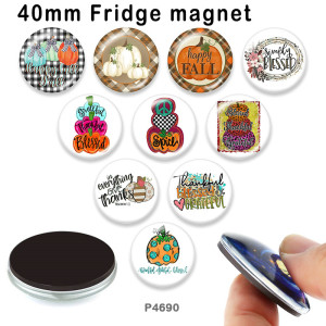 10個/ロットさまざまなサイズの感謝祭のガラス絵印刷製品冷蔵庫用マグネットカボション