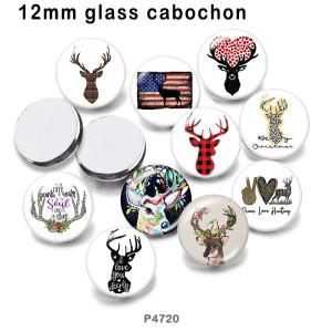 10個/ロットさまざまなサイズのクリスマスエルクガラス絵印刷製品冷蔵庫マグネットカボション