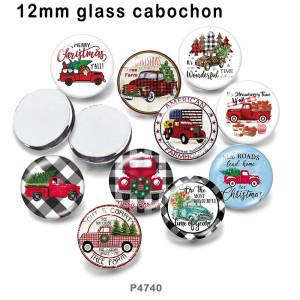 さまざまなサイズの10個/ロットのクリスマスガラス画像印刷製品冷蔵庫用マグネットカボション